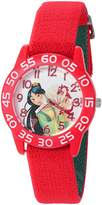 Disney Girl's 'Mulan' Quartz Plastic and Nylon Automatic Watch, Color: (Model: W002980)