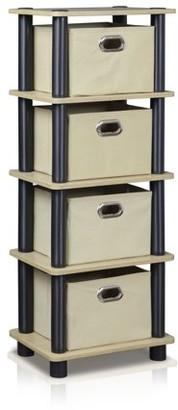 Furinno 99150KO/BK/LB Laci 4-Bins System Rack, Oak/Black/Light Brown