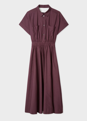 Women's Burgundy Cotton And Silk Midi Shirt Dress