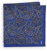 Saint Laurent Paisley Silk Pocket Square