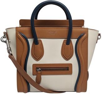 Celine Nano Luggage Ecru Leather Handbags