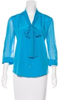 Alice + Olivia Silk Bow-Accent Blouse