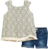Jessica Simpson Seagrass Print Tunic Top & Denim Short Set (Toddler Girls)