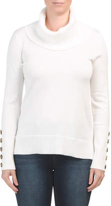 Cowl Neck High Low Pullover Sweater