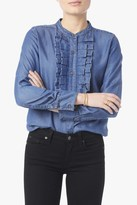 7 For All Mankind Tuxedo Ruffle Denim Shirt In Medium Royale