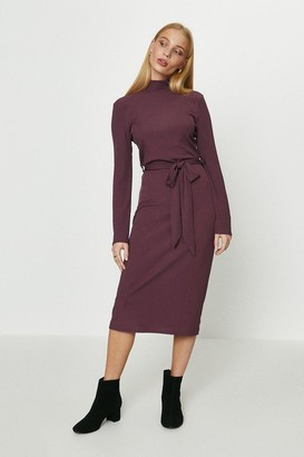 Coast Ribbed Belted Midi Dress