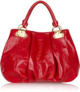 Crinkle patent shoulder bag