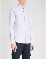 Moncler Gamme Bleu Chevron-panel slim-fit cotton-Oxford shirt