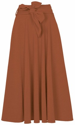 M Made in Italy Women's Maxi Skirt with Bow Tie at The Waist