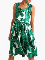 Yumi Palm Print Dress, Green