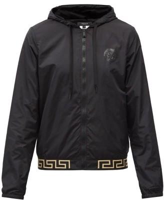 Versace Greco-jacquard Hooded Zip-up Jacket - Black Multi