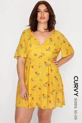 Girls On Film Mustard Floral Print Skater Dress