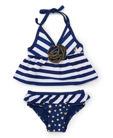 Pink Platinum Navy & White Stripe Tankini - Infant & Toddler