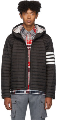 Thom Browne Black Down 4-Bar Quilted Hooded Jacket