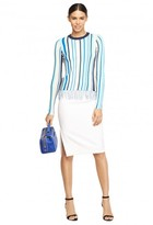 Milly Stretch Crepe Side Slit Midi Pencil Skirt