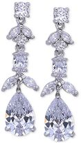 Nina Silver-Tone Floral Crystal Linear Drop Earrings