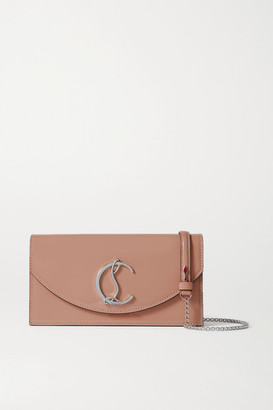 Christian Louboutin Loubi54 Patent-leather Clutch - Neutral