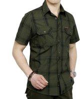 RubySports Men Clothing Rubysports Mens military uniform Plaid Casual Short Sleeve Dress Shirt ArGr 5X