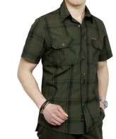 RubySports Men Clothing Rubysports Mens military uniform Style Plaid Casual Short Sleeve Shirt Blue 5XL