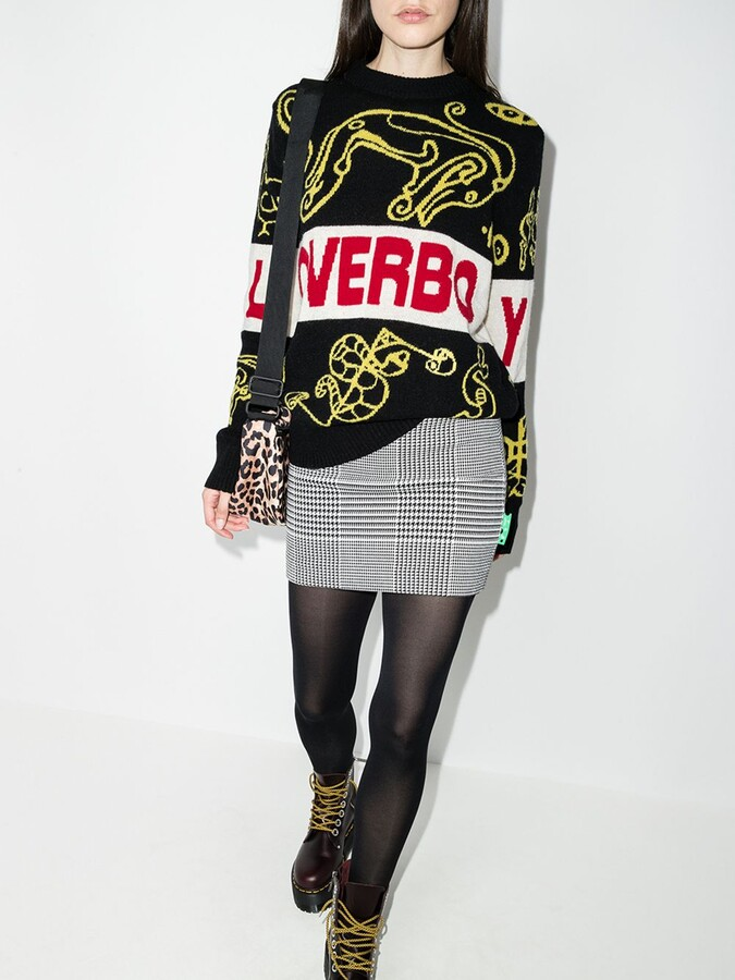 Thumbnail for your product : Charles Jeffrey Loverboy Black Logo Intarsia Sweater