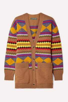 ALEXACHUNG Intarsia Wool Cardigan - Camel