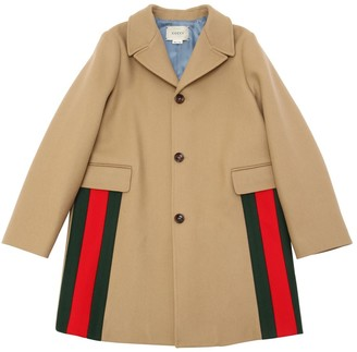 Gucci Wool Felt Coat W/ Web Detail