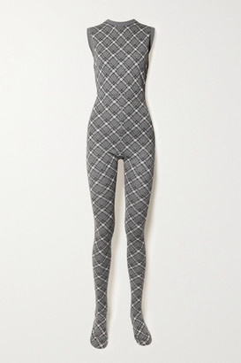 Miu Miu Checked Wool Jumpsuit - Gray