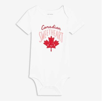 Joe Fresh Baby Girls' Canada Bodysuit, White (Size 6-12)