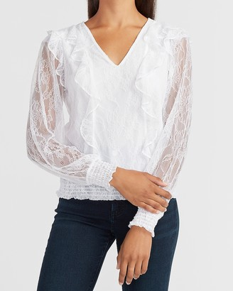 Express Lace Ruffle Front V-Neck Top