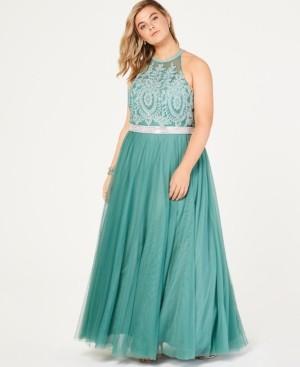 City Studios Trendy Plus Size Rhinestone Tulle Gown