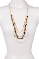 Stephan & Co 5 Row Simulated Pearl & Ribbon Chain Necklace