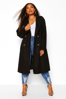 boohoo Plus Wool Look Belted Trench Coat