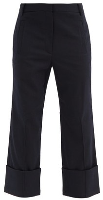 Tibi Luka Turn-up Cuff Twill Cropped-leg Trousers - Navy