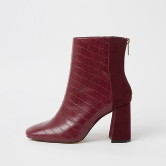 River Island Womens Red wide fit embossed block heel boots