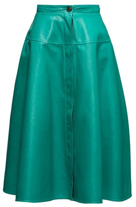 Marni High-rise Leather A-line Skirt - Womens - Green
