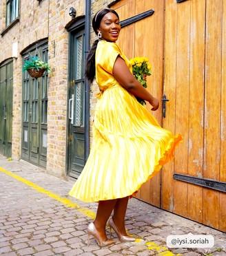 New Look Stripe Satin Pleated Midi Dress