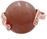 Savvy Cie 18K Rose Gold Vermeil Pink Moonstone & White Quartz Ring