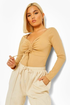 boohoo Petite Rib Ruched Front Bodysuit