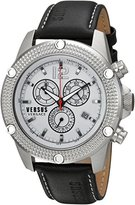Versus By Versace Men's 'AVENTURA' Quartz Stainless Steel and Leather Casual Watch, Color:Black (Model: SOC070015)