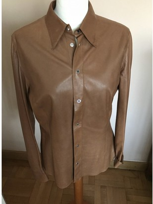 Ralph Lauren Purple Label Camel Leather Tops