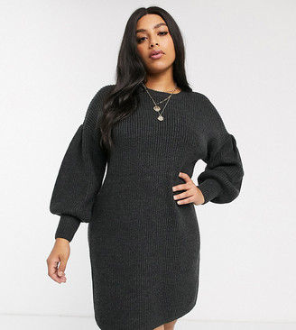 Micha Lounge Curve mini sweater dress with balloon sleeves in rib knit