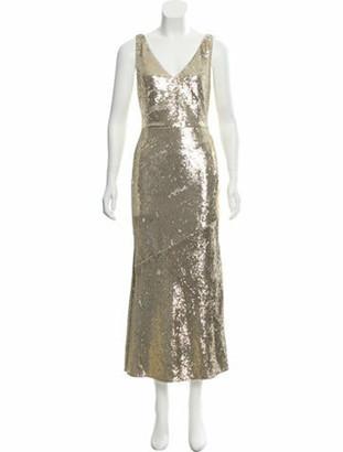 Rachel Zoe V-Neck Long Dress w/ Tags Gold