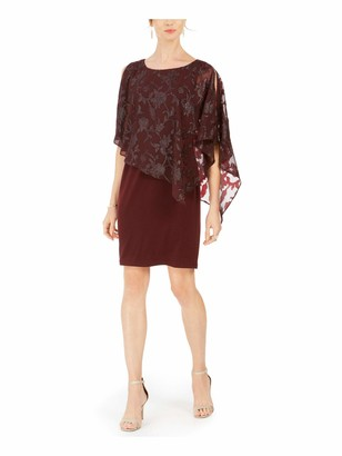 Connected Apparel Womens Burgundy Floral 3/4 Sleeve Jewel Neck Above The Knee Sheath Evening Dress UK Size:14