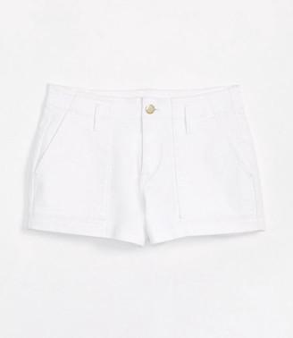 LOFT High Waist Patch Pocket Denim Shorts in White