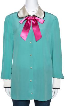 Gucci Jade Green Silk Bow Detail Long Sleeve Blouse M