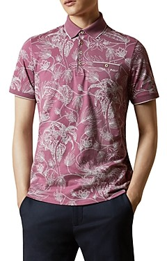 Ted Baker Linear Floral Print Polo