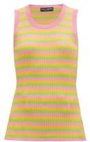 Dolce & Gabbana Striped Ribbed-knit Silk-jersey Tank Top - Womens - Multi