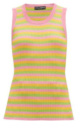 Dolce & Gabbana Striped Silk-jersey Tank Top - Multi
