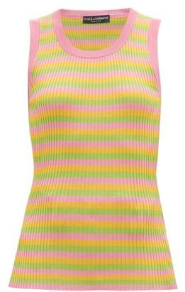 Dolce & Gabbana Striped Silk-jersey Tank Top - Womens - Multi