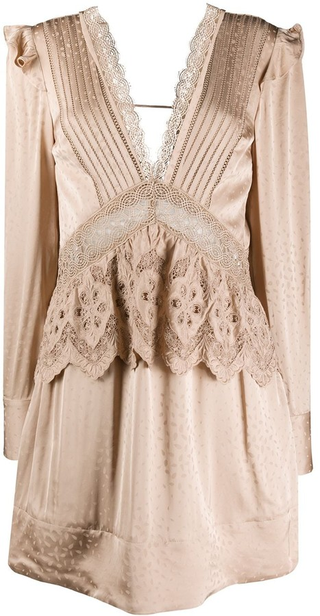 Self-Portrait Lace Ruffled Mini Dress
